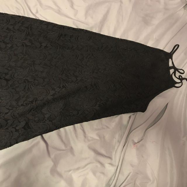 Little Black Halter-Style Lace Dress