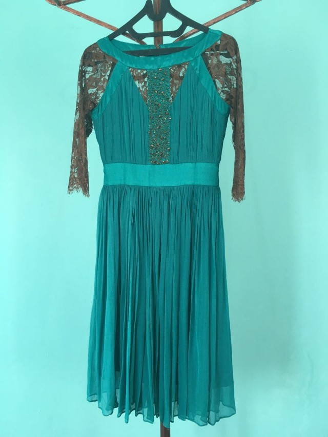 Midi dress hijau tosca / dress pesta / gaun pesta