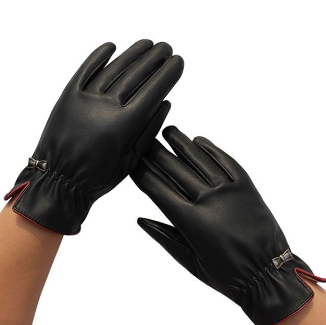 NEW leather touch screen gloves, sz med