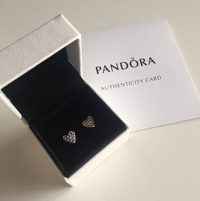 Pandora hearts of winter silver earrings