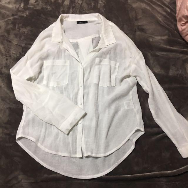 Pazzo棉麻抓皺襯衫(白)