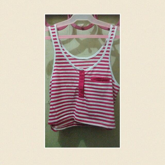 Pink & White Crop Top