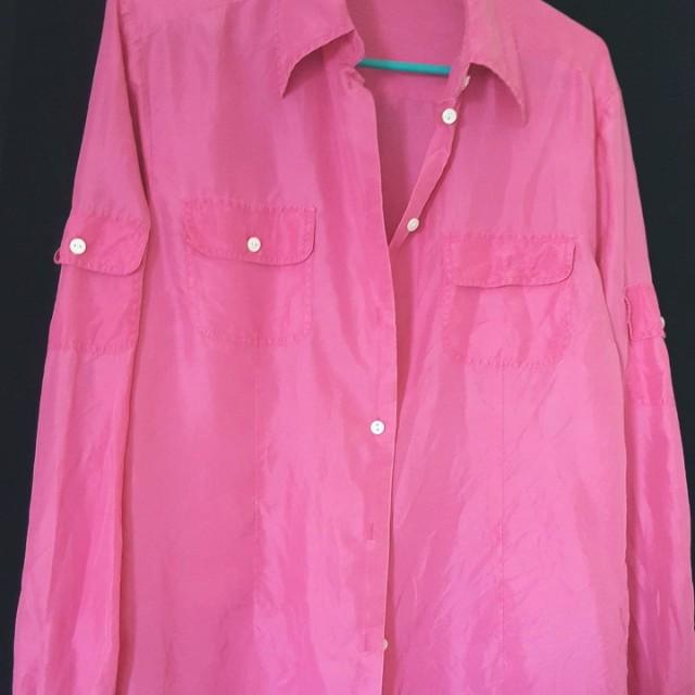 Pink Silk Button Down Blouse