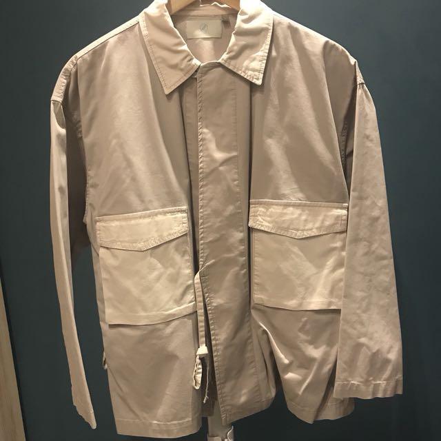 Plain-me棉質拼接和風綁帶襯衫