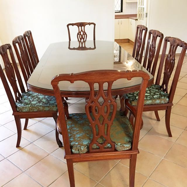 Rare Solid Rosewood English Style Dining Set Buffet Hutch