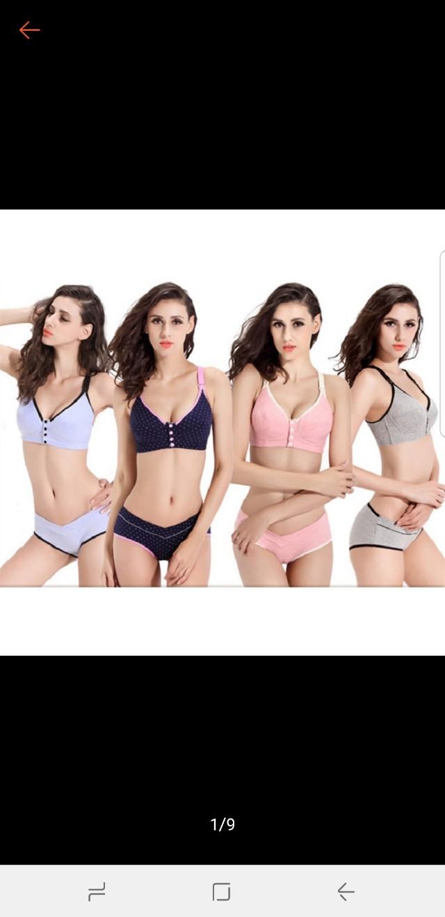 Ready stock 100% cotton front open maternity bra