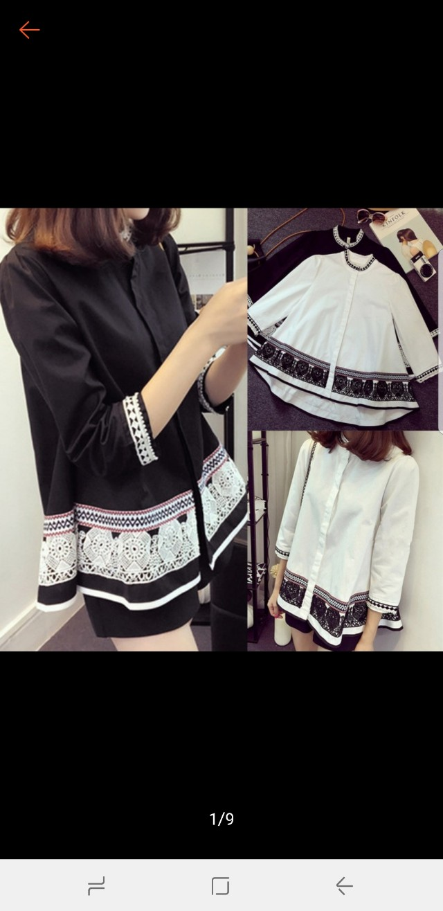 Ready stock black 3/4 sleeves tunic embroidery top