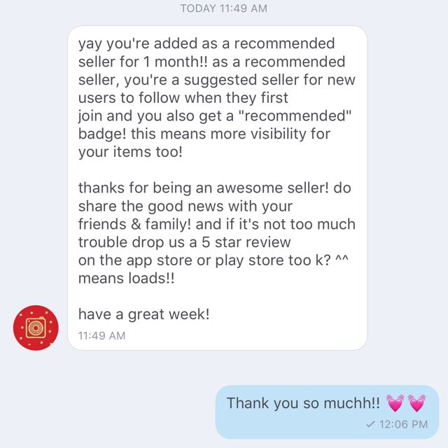 Recommended seller tag💓