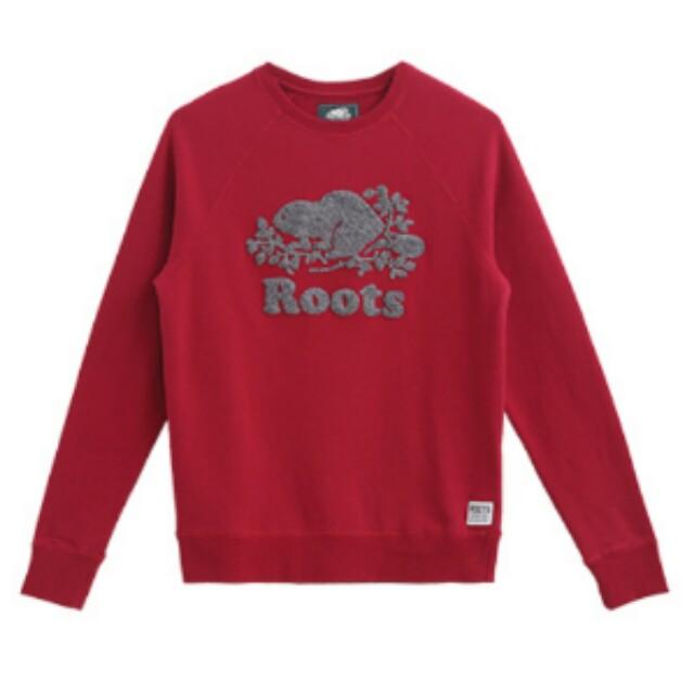 Roots 全新正品 圓領長袖 厚棉T恤紅色