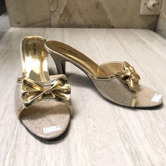 Sandal pesta gliter gold size 40