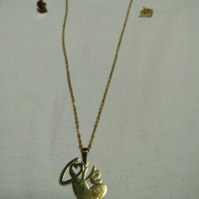 set of love necklace and earings