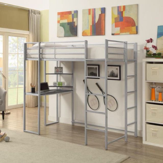 Silver Twin Workstation Loft Bed