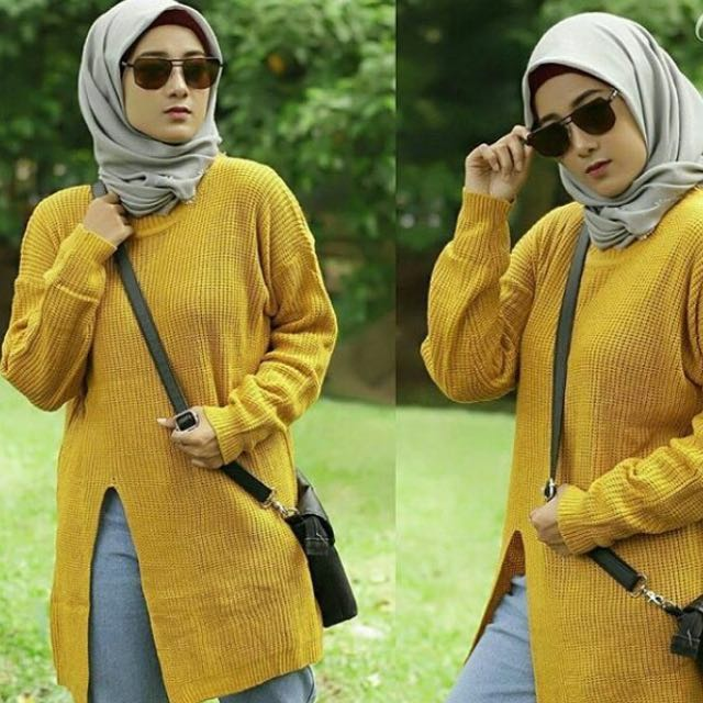 Slit sweater mustard