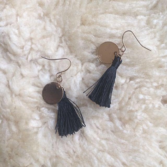 Small Black Tassel Earrings