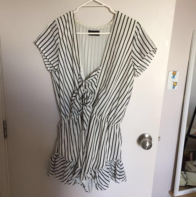 Striped bow playsuit