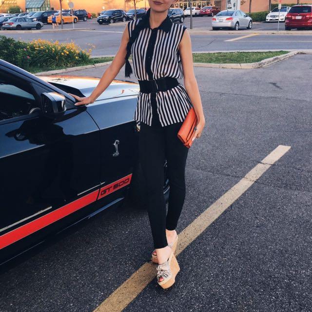 Striped viscose sleeveless shirt size S