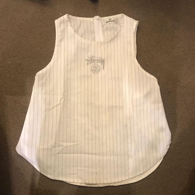 Stussy side split stripe sleeveless top