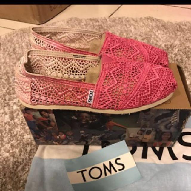 Toms漸層粉蕾絲懶人鞋6號6.5號