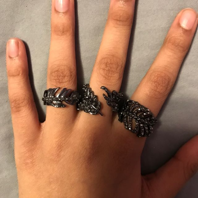 Topshop Feather Rings
