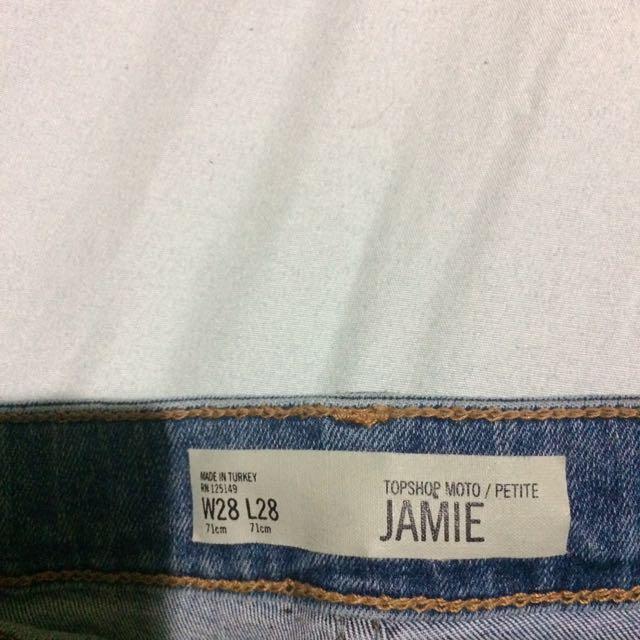 Topshop petite lace up Jamie jeans