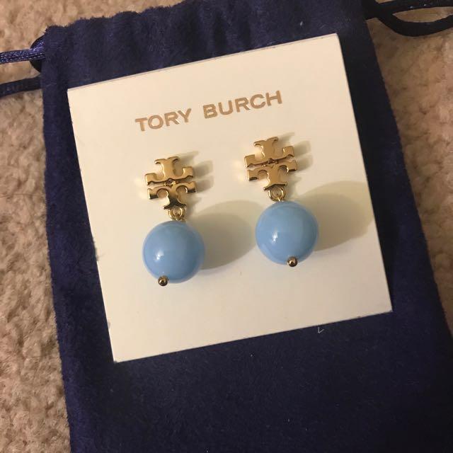Tory burch 耳環 藍珠珠 特價