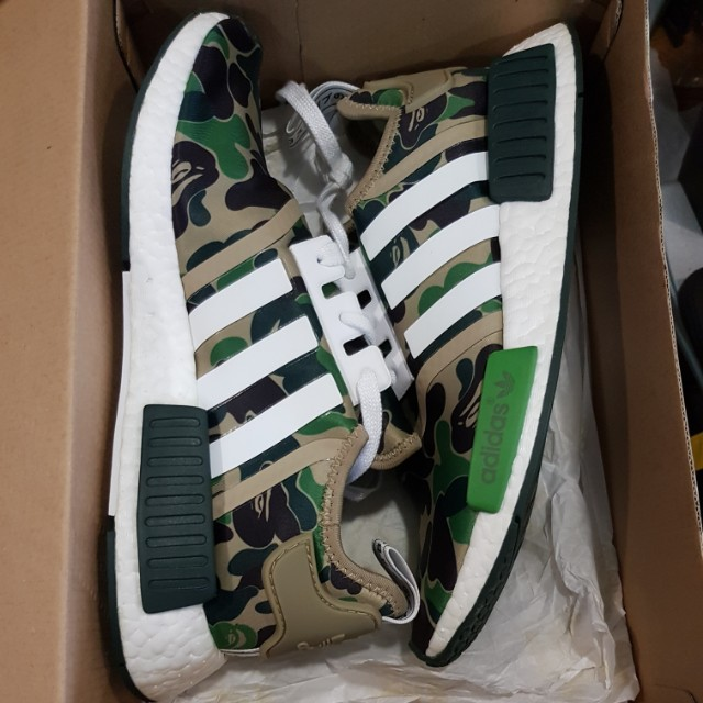 outlet store 525db 4cd7e US 10 Adidas nmd bape olive green