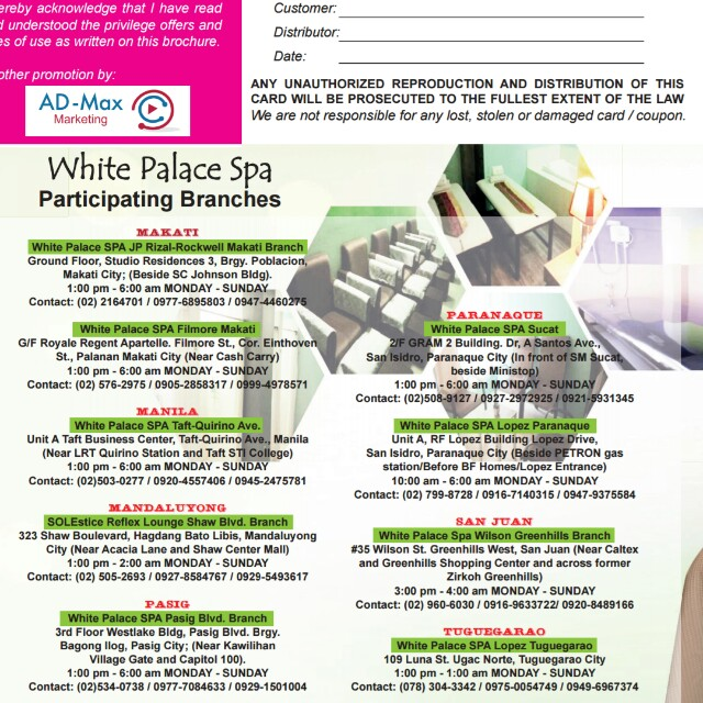 White Palace Spa Discount Brochure