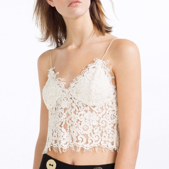 c7e29e7da92 Zara Guipure Lace Bralet, Women's Fashion, Clothes, Tops on Carousell