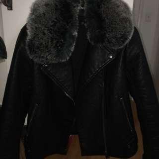 Topshop Faux Fur Biker Leather Jacket