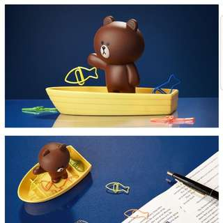 Line Friends - Brown Fishing Magnetic Clip Holder (BNIB)