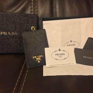 Prada card holder black 黑色卡片套 掛頸 極新 聖誕禮物
