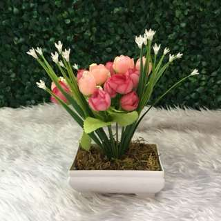 Artificial Mini rose with pot and Moss