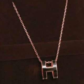 Hermes H橢圓黑配玫瑰金(全新正品)