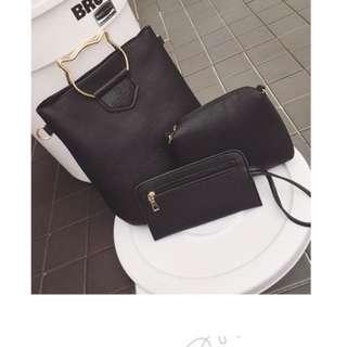 🚚 韓版新款猫型把手三件套女包單肩手提包子母零錢袋手机包