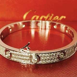 Cartier Love Bracelet 18K White Gold FULL Pave Diamonds