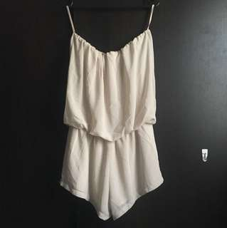Nude strapless playsuit