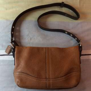 New Coach Pebbled Leather Convertible Duffle Crossbody Sling SADDLE