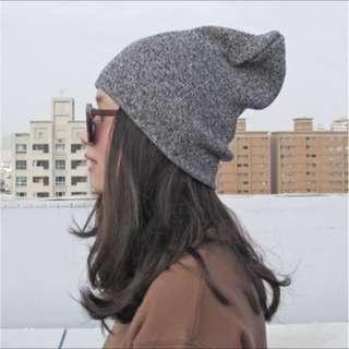 雙色混紡針織棉柔毛帽