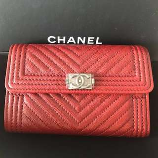 BN 💯Authentic Chanel Boy Red Wallet Purse