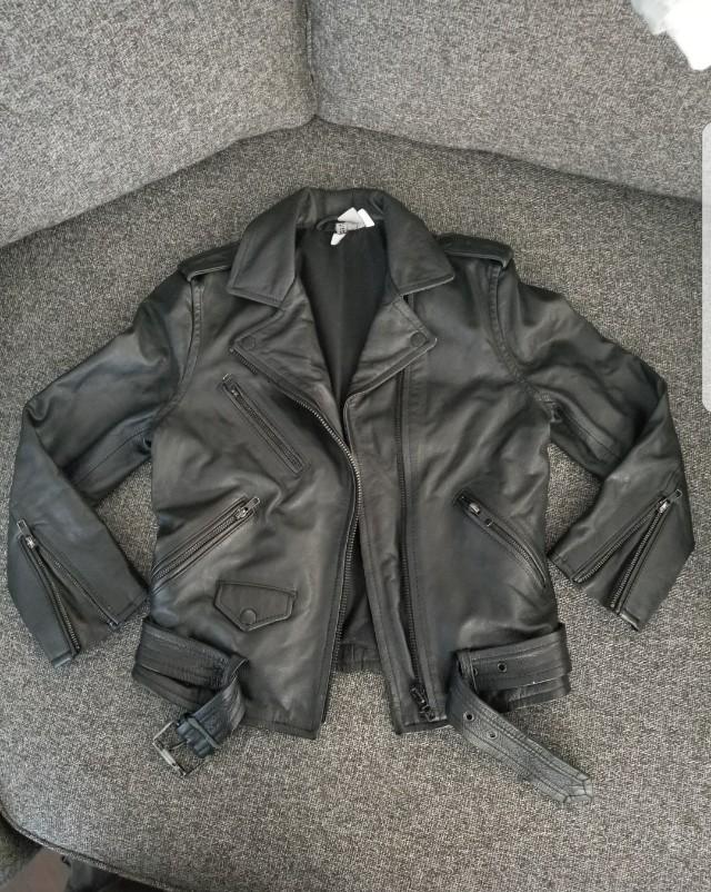 100% leather motto jacket (black)