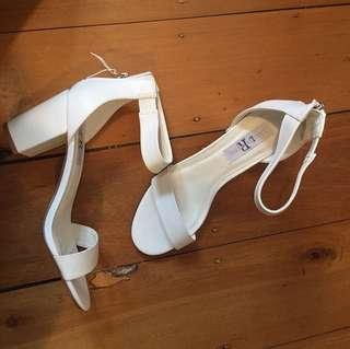White mid block heels