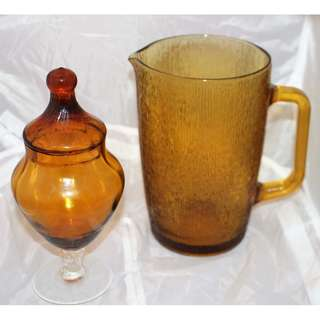 Retro Amber Glass Items