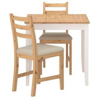 1 dining table, 1 dining chair