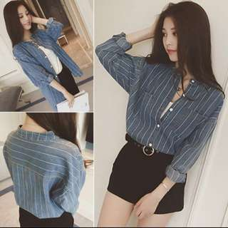 Blue denim mandarin collared striped outerwear top