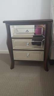 Mirrored Bedside Tables ×2 Brand New