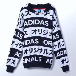 Adidas Originals Japanese Typo Black White Printed Hoodie