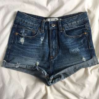 Denim High-Waisted Shorts