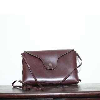 真皮革 酒紅色 棗紅色 斜背包 側背包 手拿包 雜物包 化妝包 零錢包 古著 vintage
