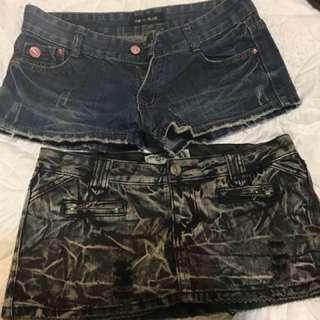 🚚 L號 牛仔短褲 牛仔短裙  牛仔褲裙 低腰 m可穿 褲裙