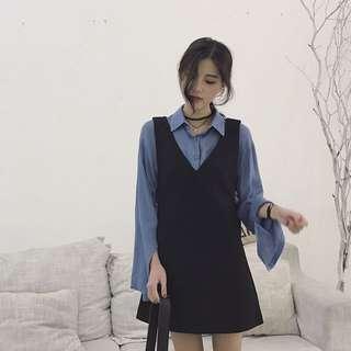 霧藍襯衣+顯瘦黑連身裙